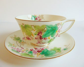 Royal Doulton 1940's Teacup & Saucer Made in England Fine Bone China Wild Roses