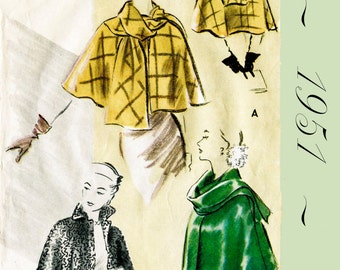 1950s 50s Vintage Sewing Pattern // Cape Shawl Evening or Day // French & English // PICK YOUR SIZE Bust 32 34 36 38 40 42