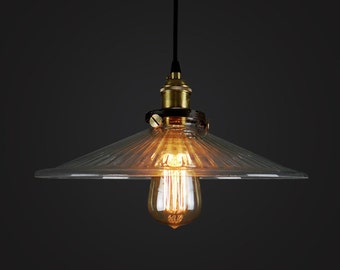 Glass pendant Lamp - lampshade OR full set - industrial style - hanging lamp - Edison bulb lamp - 110V-250V - ceiling lamp - glass lamp
