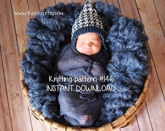 Houndstooth Newborn Bonnet Knitting Pattern, PDF Number 146 -- INSTANT DOWNLOAD -- Permission to Sell Hats -- Over 35,000 patterns sold