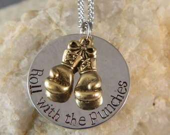 Roll With The Punches with Gold Boxing Gloves Necklace