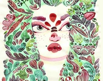 Mermaid Illustration // Hair Designs // Original Art // Artwork // Green // Sea