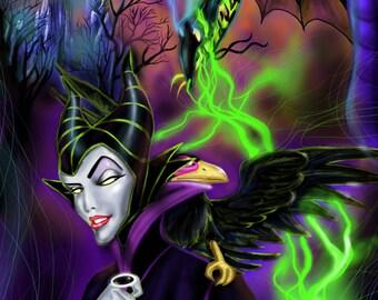 Maleficent Disney  Drawing Original Print