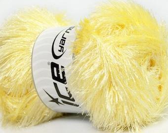 Large 100 gram skein Baby Yellow Eyelash Glitz #46552 Ice Sparkly Eyelash Yarn