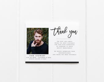 funeral remembrance cards template - thank you sympathy etsy