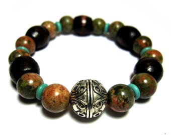 """The """"Deep Woods"""" - Dark Barrel Wood Beads, Unakite Beads, Turquoise Disks, Silver Designer Focal Bead. For smaller wrists."""