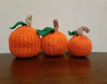 3 Knifty knitter pumpkins