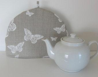Butterflies fabric tea cozy, Linen Cotton fabric cozy, Lined teapot warmer, Butterflies print fabric