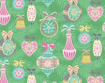 COTTON FABRIC Vintage Ornament Green - 'Vintage Noel' by Blend Fabrics 100% premium cotton