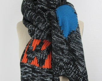 Black Knit scarf avante garde neck wrap mod atomic knitted shawl soft cozy muffler boho chic accessory Warm Winter Colorful bohemian gift