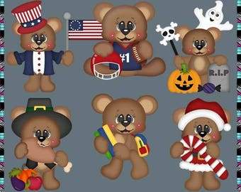 Calendar Bears July-December - Instant Download - Commercial Use Digital Clipart Elements Graphics Set