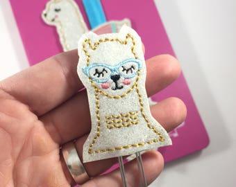 planner accessories- llama paperclip  - glitter planner accessory - Single Llama -Paper Clip - planners happy mambi bullet journals- teacher