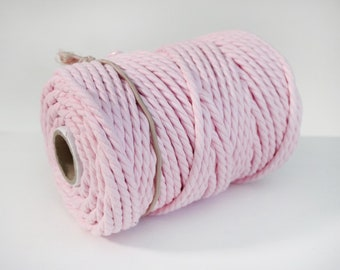 6mm Baby Pink Cotton Rope - 40m spool - 100% Recycled Cotton - Twisted Cord - Macrame Knotting