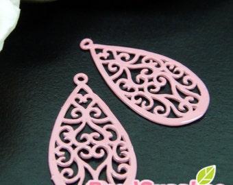 CH-ME-01336A - Coral pink enameled, Art Nouveau Filigree teardrop , 4 pcs