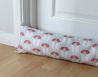 Draught Excluder Blue Floral Elder berry Fabric Scandi Home Patterned Fabric Modern Interior Decorative UK
