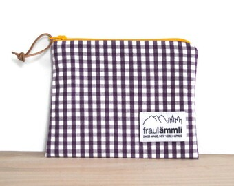Cotton zipper pouch gingham and chambray / purple zipper bag for everything / make up bag / jewelry bag / zipper buffalo check fabric pouch