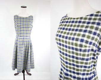 1950's Cotton Blue & Green Plaid Sleeveless Dress
