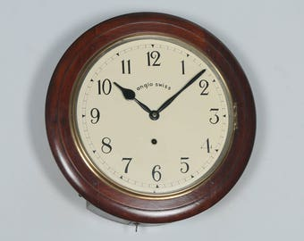 "Antique 16"" Mahogany Anglo Swiss Railway Station / School Round Dial Wall Clock (Timepiece)"