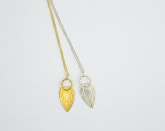 Tulip necklace, Gold necklace, Silver necklace, Handcrafted necklace, Pendant necklace