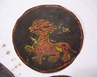 3 Primitive Tibetan Paintings On Leather Circles (approximately 2.75 inches diameters) tibet