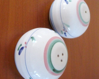 Vintage Salt and Pepper Shakers Caleca Pink Garland Majolica Italy Pink Blue Round & Caleca Salad Bowl 12 Inch Bowl Pink Garland Pattern Large