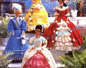 """Six Victorian Fashion Doll Gowns to Crochet 11 1/2"""" Barbie Size Wedding Dress Pantaloons Slippers Petticoats Vintage Annies Attic 879601"""