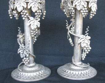 Silver candlesticks with Grapes - Ornate Tall Candleholders