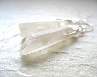 Quartz Crystal Point Earrings, Handmade Artisan Gemstone Dangle Drop Earrings, Gemstone Earrings, Dangle Drop Earrings, Stone Jewelry