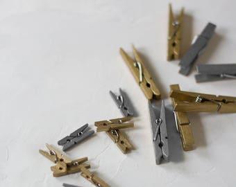 Metallic Clothespins - 24 pc - Mini / Small - Gold / Silver