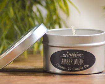 Soy Candle, Amber Musk, Egyptian Amber Scented, Candle Tin, Natural Candle, Handmade Soy Wax Candle, Home Fragrance