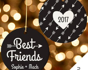 Best Friends Ornament, Best Friends Christmas, BFF Christmas Ornament, Personalized Ornament, 2017 Ornament, Custom Ornament, Heart Ornament