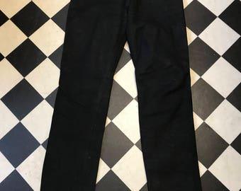 Vintage jeans blk leather 5 pocket  - lined