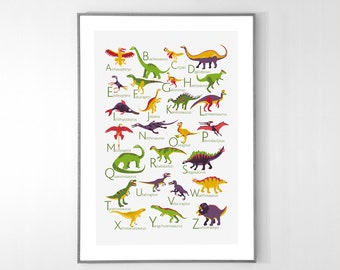 Dinosaurs Alphabet Poster from A to Z, BIG POSTER 13x19 inches