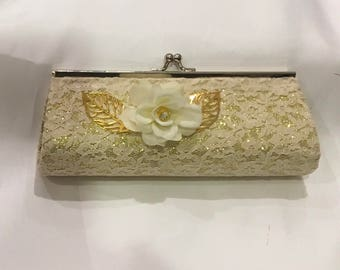 wedding gift small clutch purse ivory lace on gold color flowers flower girl bridesmaid favor