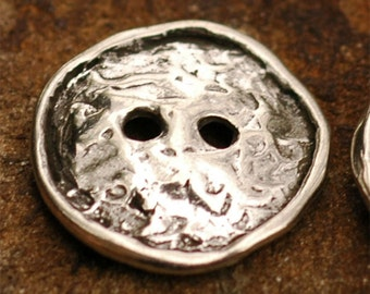 Rustic Round Rimmed 2 Hole Sterling Silver Button Clasp