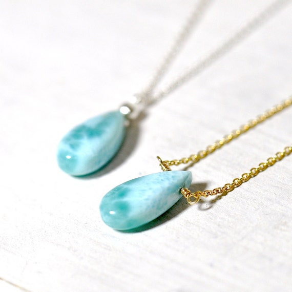 Larimar Necklace in Gold or Silver, Wife Gift, Larimar Pendant, Larimar Jewelry, Christmas Gift for Her, Mothers day