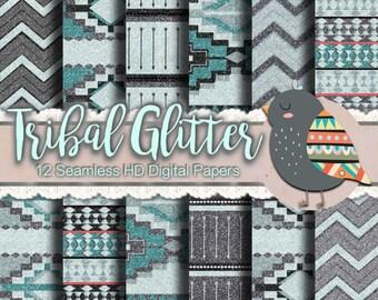 Glitter Tribal Paper - Glitter Paper, Tribal Print Paper, Aztec Print Paper, Geometric Paper, Chevron Paper, Scrapbook Paper, Sparkly Teal