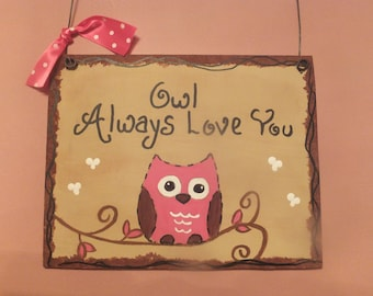 Owl Always Love You Wall Hanging - Hot Pink