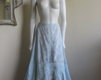"vintage 1940s Cherie of Hollywood blue floral slip petticoat skirt- small 27"" waist"