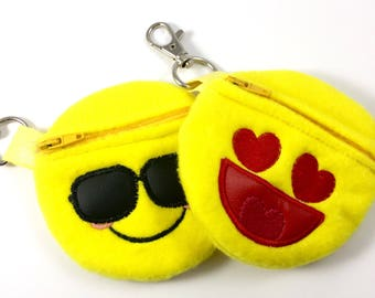 Emoji face coin pouch - love emoji - cool emoji - backpack clip on money pouch - lunch money case - clip on money holder - treasure keeper