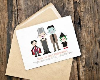 Custom Illustrated Halloween Party Card / Invite / Invitation (Digital File)
