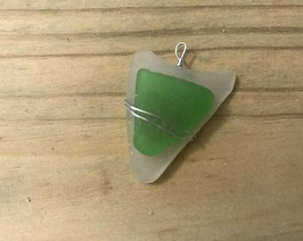 Sea Glass Pendant Wrapped in wire