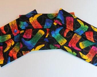 "Purse sized Wetbag Reusable Cloth Pad - ""rainbow boots"""