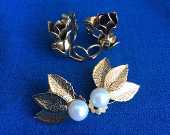 Vintage Rose Flower, Leafs Earring Collection 2 Pairs Clip On Earrings Costume Jewelry Fashion Clothing Accessory 50's 60's