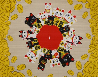 Kawaii Fabric Cat Furoshiki 'Maneki Neko Beckoning Cats & Coins' Cotton Japanese Fabric Yellow and Red 50cm w/Free Insured Shipping