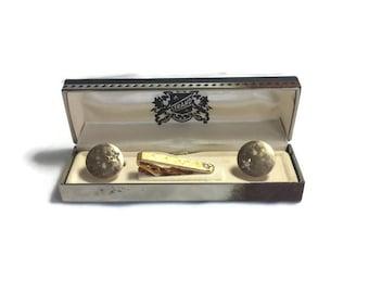 Vintage Swank Cuff Links and Tie Bar, Gentlemans Accessories Set in Original Box, Gold Tone Atomic Starburst Cuff Links and Tie Bar