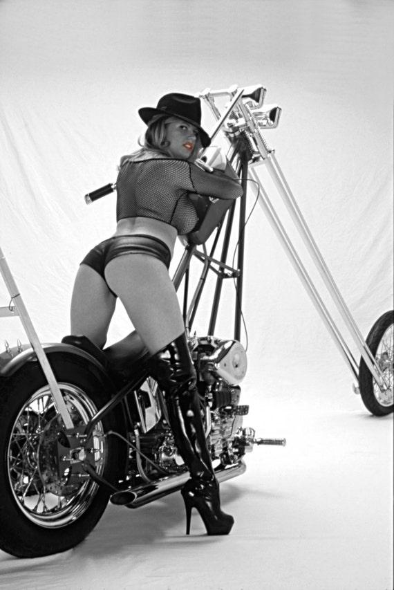 20x30 Inch Poster Of Fishnet Clad Biker Babe On Harley Chopper