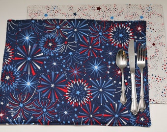 Pair of Reversible Placemats:  Fireworks on Navy Blue and Red/White/Blue Stars on White