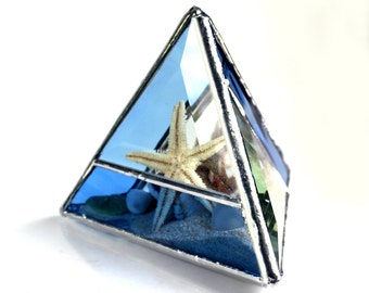 One Of A Kind Seaside Stained Glass Pyramid Beachscape