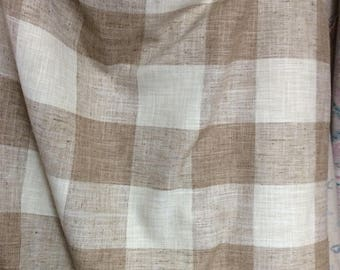 RUSTIC WOVEN buffalo check  in harvest tan beige ivory multipurpose very French fabric